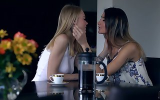Three magnificent girls are copulation coupled with kissing concerning scissor cusp